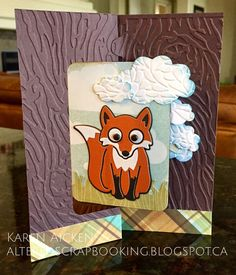 Karen Aicken using the Pop it Ups Rectangle Pull Card, Dutch the Fox, Outdoor Edges and the cloud from the All Seasons Tree dies by Karen Burniston for Elizabeth Craft Designs. - Altered Scrapbooking: Hello Pull Card