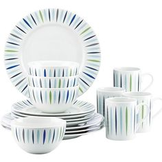 Dansk The Burbs 16-Piece Dinnerware Set ($172) ❤ liked on Polyvore featuring home, kitchen & dining, dinnerware, colored dinnerware, dansk dinner plates, dansk dinnerware set, dansk bowl and dansk dinnerware