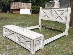 King bed frame / THE YULEE barn door style storage bed frame Wooden Bed Frames, Wood Beds, Rustic Bed Frames, Timber Frames, Farmhouse Bed Frames, Rustic Wood Bed, Rustic Sofa, Bed Frame Plans, Door Bed Frame