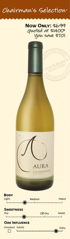 "Aura Chardonnay 2011: ""Is a uniquely smooth Chardonnay that trades dry and oaky for light and creamy, a perfectly unexpected twist on the ordinary. Aura is everything you never expected from a Chardonnay. A silky, toasty indulgence, Aura Chardonnay offers something more with its creamy flavors and velvety mouthfeel. Flavors of baked apple pie and sweet vanilla meld with hints of viscous caramel and rich velvety oak nuances for a luxurious Chardonnay wine."" *Winemaker's notes. $6.99"