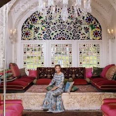 Empress Farah- love the Palace backdrop stained glass windows and decor. (Iran)