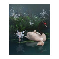 Shop Pixie Pond Acrylic Print created by WhimsicalArtwork. Personalize it with photos & text or purchase as is! Acrylic Wall Art, Wood Wall Art, Wall Art Decor, Fantasy Gifts, Fantasy Art, Woodland Creatures, Faeries, Folklore, Swan