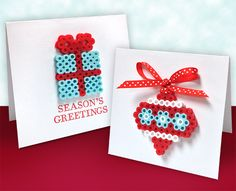 Let the kids be part of the holiday cardmaking with these easy and quick Perler ornament cards. Glue to the card or add a hanger that you insert to the inside so that the ornament becomes usable by the recipient. That's double the pleasure!