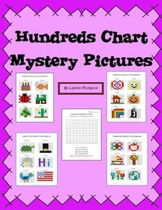 24 Hundredes Chart Mystert Pictures - to practice place value and recognizing colors and numbers on a hundreds chart