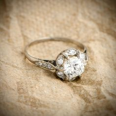 STUNNING! An amazing and rare Art Deco Old European Cut Diamond Engagement Ring. Circa 1930.