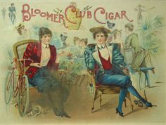 "Color Lithograph: Advertising poster for ""Bloomer Cut Cigar,"" depicting two turn-of-the-century women wearing bloomers, seated, smoking cigars"