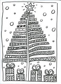 Zentangle Christmas Tree & Presents Doodle Christmas Crafts For Kids, Christmas Activities, Christmas Printables, Christmas Colors, Christmas Projects, Winter Christmas, Kids Christmas, Colouring Pages, Coloring Books