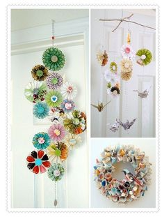 Really cool idea awesome reusing paper flowers diy, crafts, paper mobile. Kids Crafts, Diy And Crafts, Craft Projects, Arts And Crafts, Craft Ideas, Easy Crafts, Decor Crafts, Paper Flowers Diy, Diy Paper