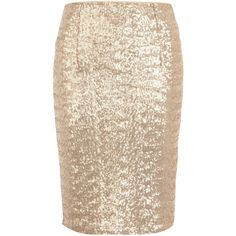 Gold sequin skirt ($35) ❤ liked on Polyvore