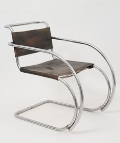 Ludwig Mies van der Rohe (American, b. Germany, Armchair, Chromium-plated tubular steel and leather. x x 87 cm). Courtesy Neue Galerie New York. Bauhaus Art, Bauhaus Design, Furniture Styles, Modern Furniture, Furniture Design, Classic Furniture, Bauhaus Furniture, Bauhaus Chair, Bauhaus Interior