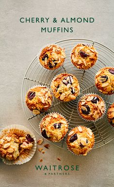 Packed with juicy, fresh cherries and topped with almonds, our dairy-free muffin recipe is full of classic Bakewell flavours. Tap to see the full Waitrose & Partners recipe. Almond Muffins, Savory Muffins, Baking Muffins, Baking Recipes, Cake Recipes, Snack Recipes, Snacks, Waitrose Food, Dairy Free Muffins