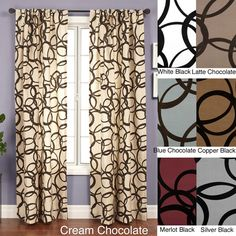 Youll love the graceful elegance this curtain panel brings to your home. Choose from six fashionable color combinations to complement your rooms decor. The panel is equipped with a rod pocket, so installation is easy and hassle free. 108 Inch Curtains, Blackout Curtains, Drapes Curtains, Luxury Curtains, Bedroom Curtains, White Curtains, Window Treatment Store, Window Treatments, Rod Pocket Curtains