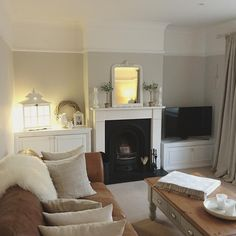 Lovely cosy living room interior with soft furnishings and fireplace. Cottage Living Rooms, Home Living Room, Interior Design Living Room, Living Room Designs, Living Room Decor, Cottage Interiors, Living Room Inspiration, Work Tomorrow, Modern