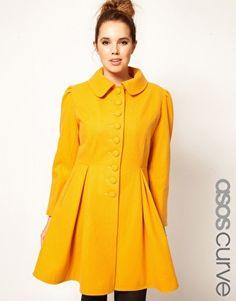 ASOS CURVE - Manteau moutarde à boutons coupe trapèze