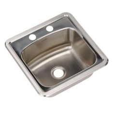 HOUZER Hospitality Premium Drop-in 15x15x6.5 2-Hole Single Bowl Bar/Prep Sink-SBT-151 at The Home Depot