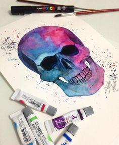 Desenho de caveira colorida. #desenho #drawing #art #arte #colorida #caveira Pastel Watercolor, Skeleton, Mystic, Tattoo Ideas, Tattoos, Drawings, Painting, Colourful Art, Tatuajes