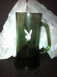 Black Frosted Glass Playboy Bunny Logo Tall Clear Bottom Handled Beer Stein Mug | eBay