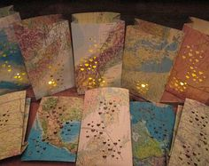 20 Small Luminaries,Travel Theme Decor, Wedding Decor Maps, Map Art, Destination Wedding, Party Decor, Travel Themed Favors, Travel Decor