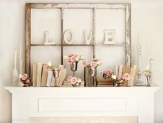 L O V E vintage style decor with old window frame instead of silver cups glitter dipped mason jars!!