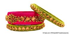 Yaalz Silk Thread Antique Kundan Stone Bangle Set In Dark Pink & Olive Green Colors Silk Thread Earrings Designs, Silk Thread Bangles Design, Silk Bangles, Bridal Bangles, Thread Jewellery, Pink Olive, Olive Green, Bangles Making, Art Silk Sarees
