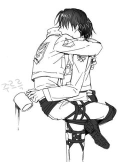 Attack on Titan (Shingeki no Kyojin) - Eren Yeager x Levi Ackerman - Ereri Eren Y Levi, Attack On Titan Eren, Attack On Titan Ships, Attack On Titan Fanart, Ereri, Levihan, Anime Guys, Manga Anime, Arte Emo