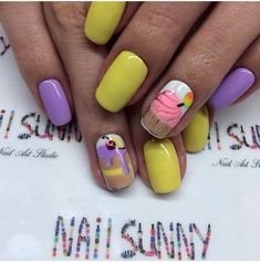 Bright summer nails, Delicious nails, Drawings on nails, Ice-cream nails, Nails with stickers, ring finger nails, Summer nails 2016, Summer nails ideas