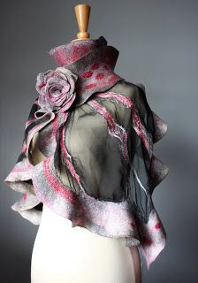 Laboratory of Fashion: Nuno felted ruffled Art scarf fashion Spring Collection 2011 Luxury