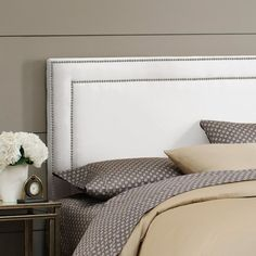 Nail Button Border Headboard in White - Style Study on Joss and Main