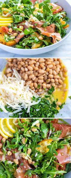 Making this white bean salad with prosciutto and arugula at home could not be any easier. This Mediterranean inspired bean salad has creamy white beans, salty prosciutto, parmesan cheese, peppery arugula, and a punchy lemon dressing. Prosciutto, Clean Eating, Healthy Eating, How To Cook Beans, Cooking Recipes, Healthy Recipes, Bean Salad, Cauliflower Recipes, White Beans