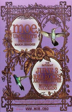 Original concert poster for Moe and Umphreys McGee at Red Rocks in Morrison, CO. 11x17 on card stock.
