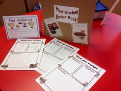 Encourage writing during continuous provision by creating a mud kitchen recipe book! Who wouldn't want their recipe stuck inside? Phonics Activities, Year 2 Classroom, Eyfs Outdoor Area, Allan, Writing Area, Mud Kitchen, School Plan, Primary Teaching, Games