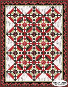 Poppy Perfection Free Quilt Pattern courtesy of Henry Glass & Co., Inc. - one block, opposite coloring