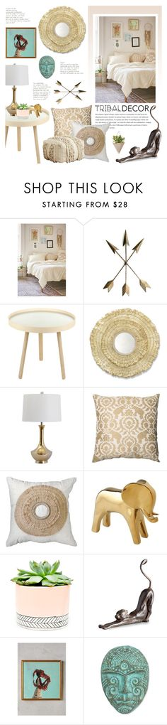 """Tan & Teal Tribal Decore"" by katrinaalice ❤ liked on Polyvore featuring interior, interiors, interior design, home, home decor, interior decorating, Plum & Bow, Menu, Palecek and Pillow Perfect"