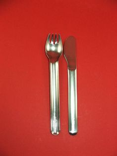 vintage 80s German LUFTHANSA metal Airline flatware set of