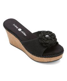 Loving this Black Devon Wedge Slide on #zulily! #zulilyfinds
