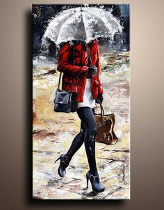 Rainy Day  Woman of New York 09 Figure Canvas Print of My Acrylic Painting Wall Decor Wall Hanging
