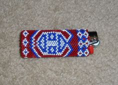 Canadiens lighter cover made with beads