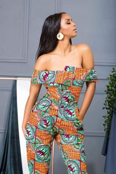 Beautiful and classiest ankara jumpsuit style for ladies. Off shoulder ankara jumpsuit style for ladies African Dresses For Women, African Print Dresses, African Attire, African Wear, African Fashion Dresses, African Women, Dress Fashion, African Inspired Fashion, African Print Fashion