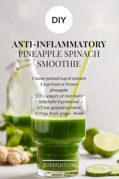 A smoothie is a wonderful way to get in a high number of anti-inflammatory foods into one drink. Easy Smoothies, Smoothie Drinks, Smoothie Recipes, Diet Recipes, Ginger Smoothie, Vegetable Smoothies, Smoothie King, Oatmeal Smoothies, Blender Recipes