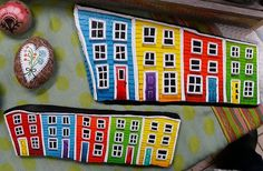 Painting on slate inspired by the city of St. John's, Newfoundland by Lori-Lee Thomas Stone Painting, House Painting, Rock Painting, Rock Crafts, Arts And Crafts, Stone Crafts, Hand Painted Rocks, Painted Stones, Sea Glass Art