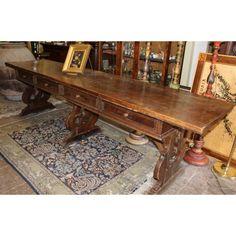 Tavolo in noce massello con cassetto centrale, stile Luigi XVI ...