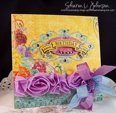 Cheery and fun birthday card made for and using products from The Stamp Simply Ribbon Store - Bo Bunny, JustRite, Spellbinders, Webster's Pages.