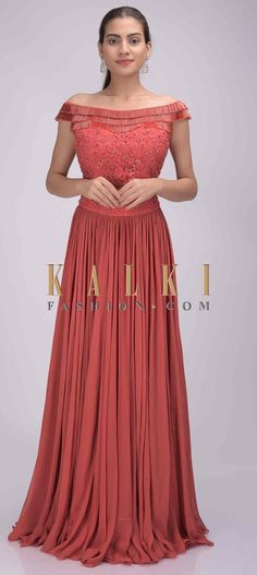 Buy Online from the link below. We ship worldwide (Free Shipping over US$100)  Click Anywhere to Tag Raspberry-red-chiffon-lehenga-with-embroidered-net-crop-top-only-on-Kalki Red Chiffon, Fashion Boutique, Lehenga, Raspberry, Hollywood, Bridesmaid, Gowns, Traditional, Free Shipping