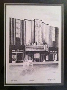 ART DECO architecture / Charles City Iowa THEATRE / Print / Streamline Moderne / 1930s Design / Ghostly Spooky figures. $39.00, via Etsy.