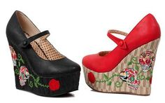 Check out this item on The Violet Vixen Sugar Skull Rose Wedges #thevioletvixen