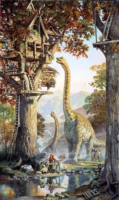 Inspired by archaeology, lost civilizations, and the art of illustration, James Gurney 's children book Dinotopia creates an extraordinary . Fantasy Kunst, Fantasy Art, Jurassic Park World, Dinosaur Art, Extinct Animals, Prehistoric Creatures, Fantasy World, Fantasy Creatures, Amazing Art