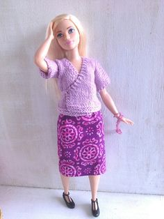 Kimono jacket for Curvy Barbie handknit sweater by magicalcrumbs