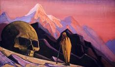 Issa and the Skull of the Giant Sketch by Nicholas Roerich Russia) Tibet, Nicholas Roerich, Mountains Of Madness, Black Jesus, Call Of Cthulhu, Sword And Sorcery, Art Database, Art Sketchbook, Art Reproductions