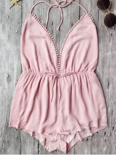 Plunge Halter Beach Cover Up Romper - PINK S
