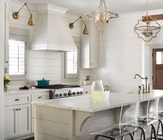 """Modern Craftsman Farmhouse Design - """"Paint Color"""" (Kitchen cabinets, island, and hood: Benjamin Moore Edgecomb Gray)"""